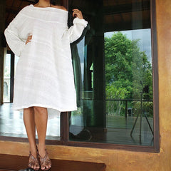 Simple dress...Ivory soft cotton/linen with lining  S,M,L,XL,XXL,( all colour ) 1408
