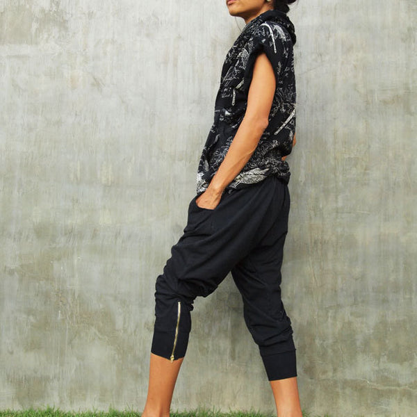 Pants..Jersey pants boho /hippie /funky /black (1412) in 3 sizes