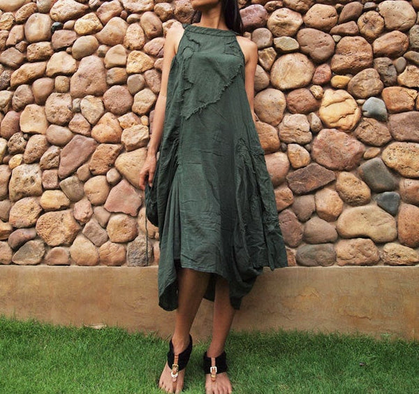 Sleeveless dress funky dress.1165..Dark green (S-L)