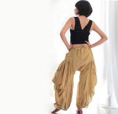 Pants/Funky Pant  P1212 Hippie/chic/handmade/boho/party/yellow/harem/elegant/fisherman pant