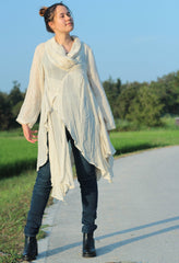 Tunic Blouse thin linen/cotton / long sleeve / blouse /Boho/(1133) One size Custom size and color