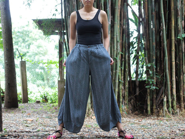 Pants/Wide relax pants 100% cotton Hand  embroidery (136 ) M indigo