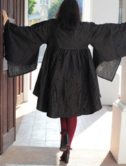 winter Blouse Japanese style  2 Layers linen hand stitches / autumn & winter size M  [D 431]