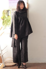 Winter/Autumn short jacket/blouse two layer blouse black linen lining with cotton one size fit S-M 1132