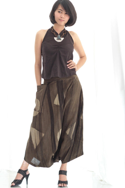 Simplicity Pants / skirt   ...Natural color hand made batic