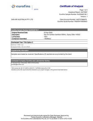 TGA Option C Household/Commercial Grade Disinfectant Report