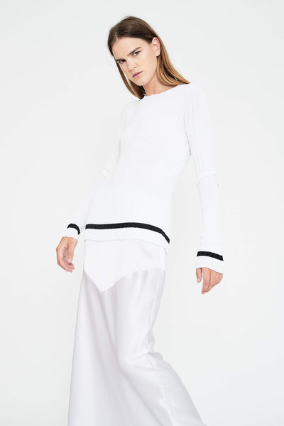 Georgia Alice PALM KNIT TOP WHITE