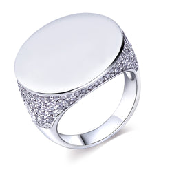 Cubic Zirconia Ring Big Round Polish (Size 8)