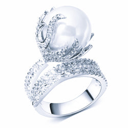 CZ Pearl Holder Ring (Size 7)