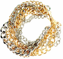 6 Link Gold & Silver Chain Bracelet