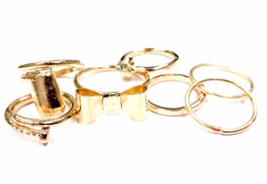 7 Gold Stackable Fingertip Rings