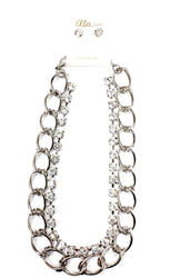 Teardrop Rhinestone Silver Necklace