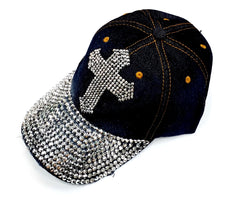 Denim Bejeweled Baseball Hats