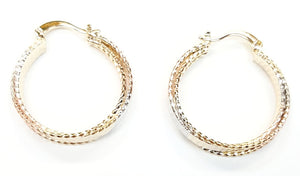 Gold Line Etched Hoop Earrings