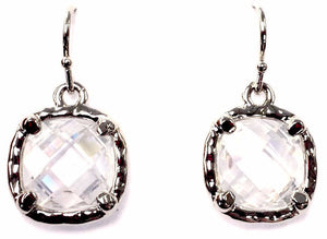 Cubic Zirconia Square Cut Dangle Earrings