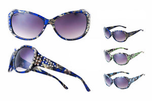 Printed Plastic Frame Sunglasses (Blue / Pink)