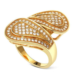 Cubic Zirconia Big Pave Surface Design Drop Ring (Size 7)
