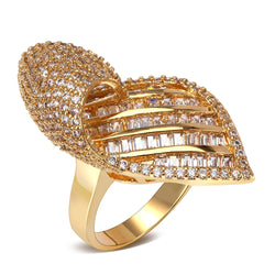 Cubic Zirconia Leaf Design 3D Relief Roll Curl Baguette Gold Ring (Size 8)