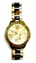 Gold Round Face With Tortoise Link Watch