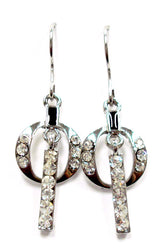 18K White Gold Swarovski Dangle Earrings