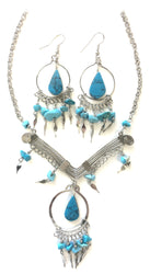 Azure V Dangle Necklace/Earring Set