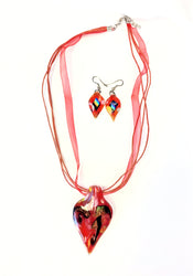 Orange/Red Dichroic Glass Necklace/Earring Set