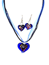 Dark Blue Dichroic Heart Necklace/Earring Set