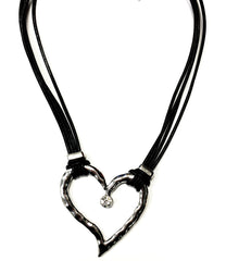 Black Genuine Leather Necklace with Silver Pendant