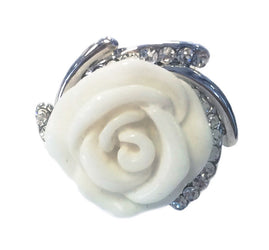 18GP Swarovski Ivory/White Rose Ring (Size 5.5)
