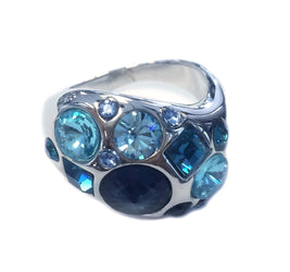 18K GP Blue Stone Ring (Size 7)