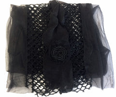 Mesh and Satin Scarf with Flower Detail