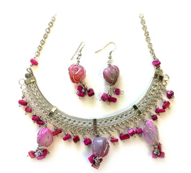 Pink Stones Necklace/Earring Set