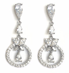 Cubic Zirconia Circle with Rhinestone Butterfly & Gem Earrings