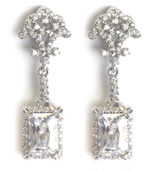Cubic Zirconia Square Dangle Earring