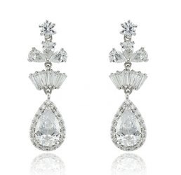 Clear CZ Teardrop Dangle Earrings