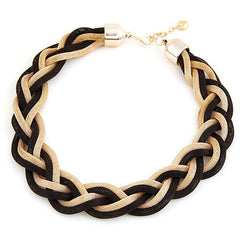 Black & Gold Twisted Rope Necklace