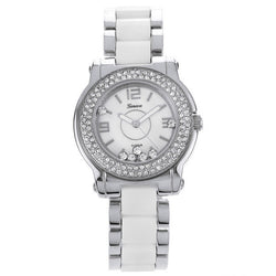 Cubic Zirconia Stainless Steel Link Watch