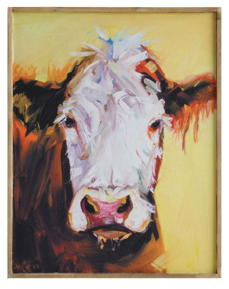 Wood Framed Canvas Wall Decor w/ Cow