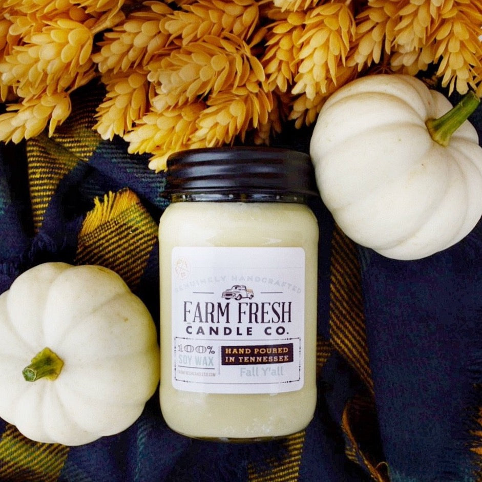 Fall Y'all Scented Soy Mason Jar Candle