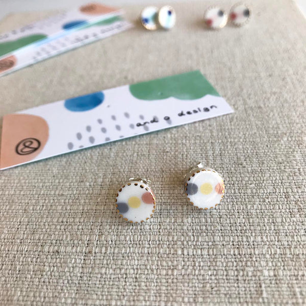 Dot Oval Porcelain Earrings / Studs