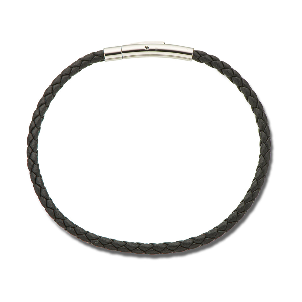 Fine Leather Plaited Bracelet 19cm / Black