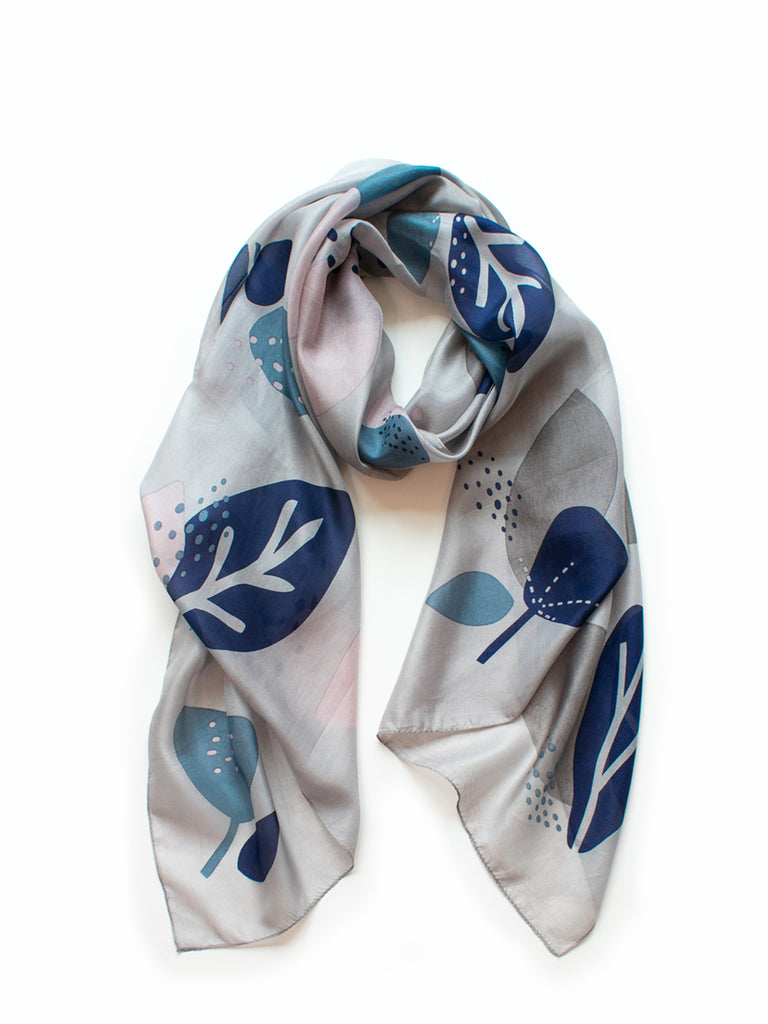 Abstract Floral Scarf / Grey