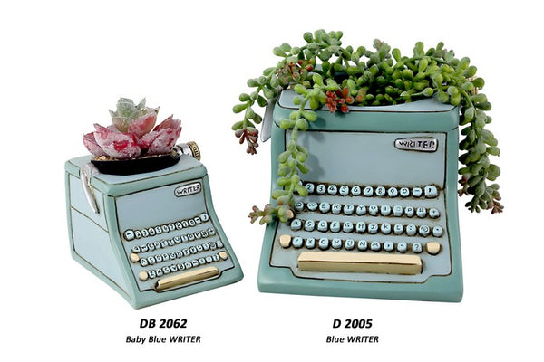 Blue Type Writer Planter / Small