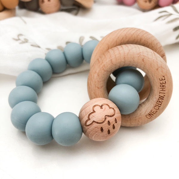 Elements Silicone & Wood Rattle Teether