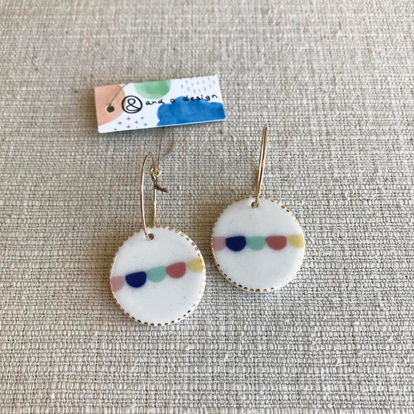 Oval Porcelain Drop Earrings / Bunting
