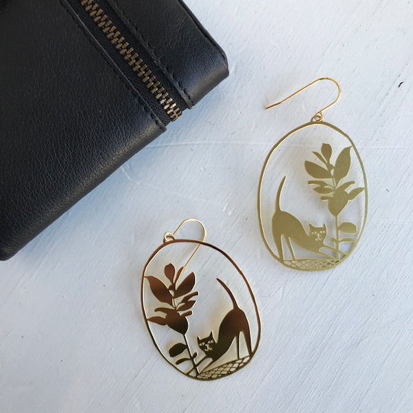 Pickles Cat Statement Earrings / Gold