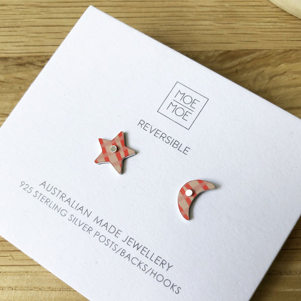 Coral Abstract Grid Mini Star & Moon Stud Earrings