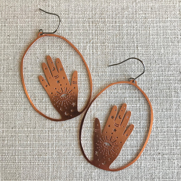 Magic Hands Earrings by Denz & Co / Rose Gold