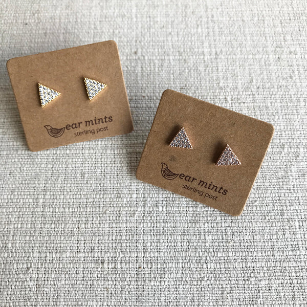 Cubic Zirconia stud earrings / Triangles