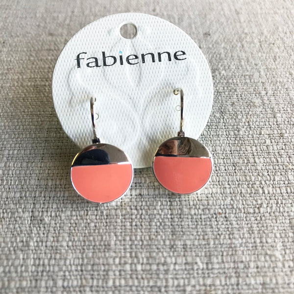 Half Enamel Silver Drop Earrings / Peach